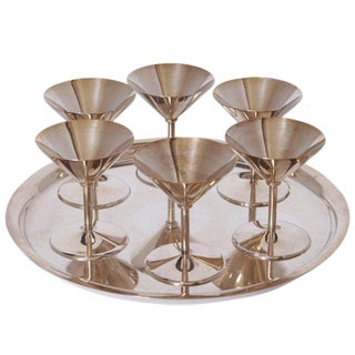 Machine Age Art Deco Silver Plate Cocktail Set by WMF Germany