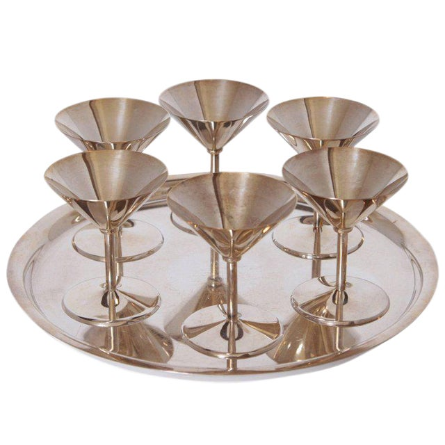 Machine Age Art Deco Silver Plate Cocktail Set by WMF Germany For Sale