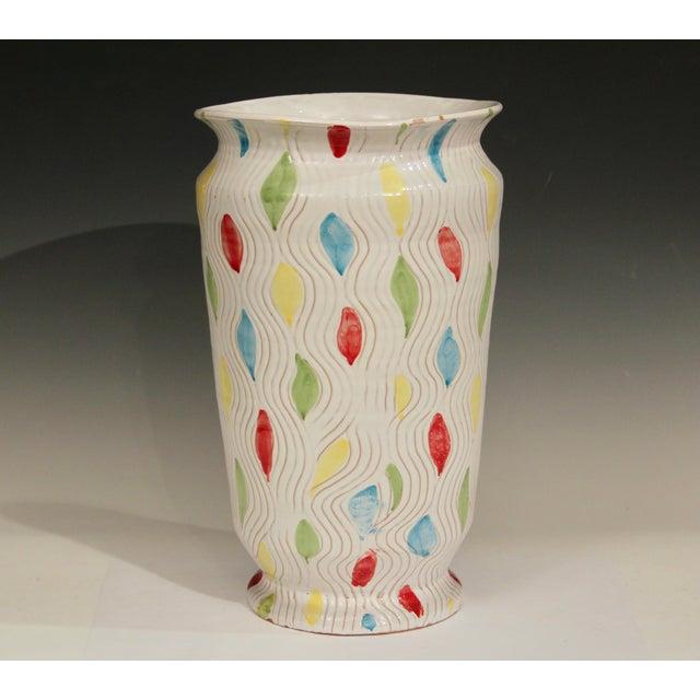 "Large vintage hand thrown Italian art pottery vase, 1960's. 15"" high, 9"" diameter. Will brighten/cheer up any room...."
