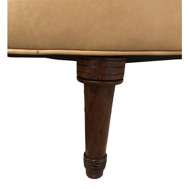 2010s Transitional Custom Leather Oval Ottoman With Wooden Turned Legs For Sale - Image 5 of 6
