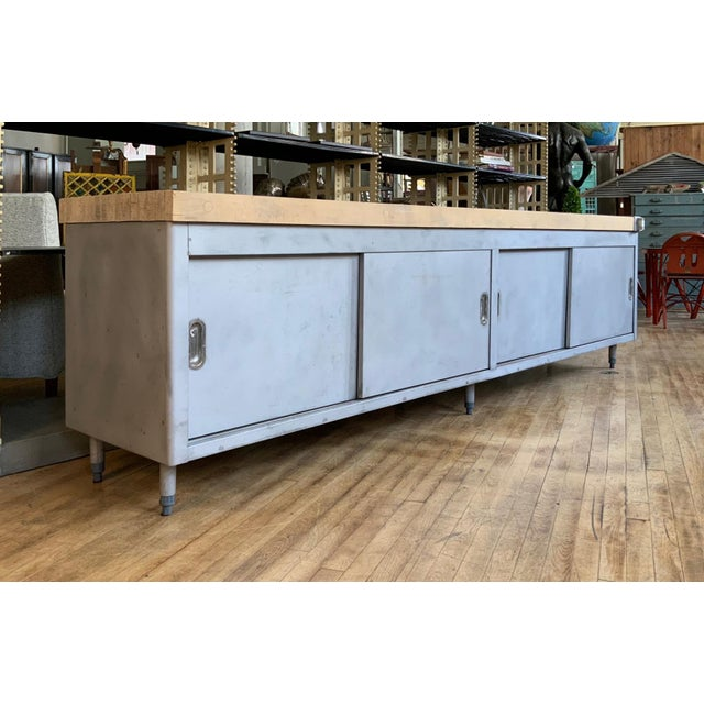 Industrial Vintage Industrial Steel Cabinet With Butcher Block Top For Sale - Image 3 of 10