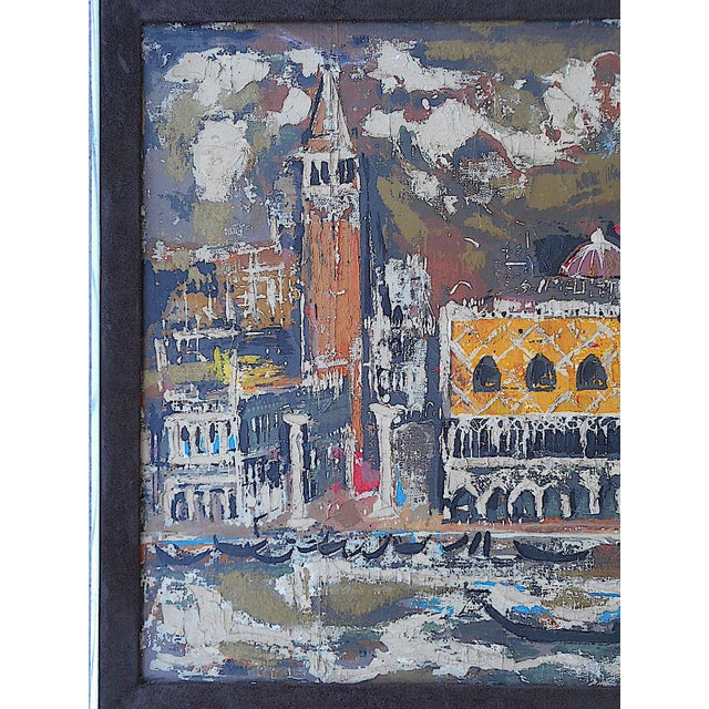 """Vintage Mid Century Original Expressionist Oil On Canvas-""""Venice"""" Cityscape-Framed - Image 3 of 7"""