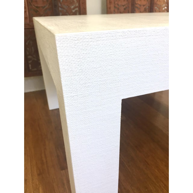 Woven Grasscloth Parsons Coffee Table For Sale - Image 5 of 6