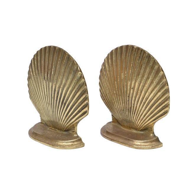 Handcrafted Brass Scallop Shell Bookends - A Pair For Sale