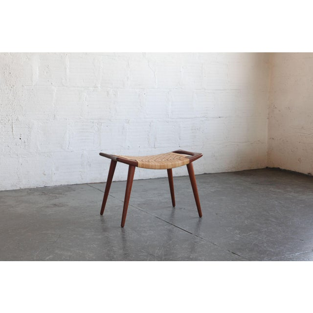 Mid-Century Modern Hans Wegner Teak & Cane Stool For Sale - Image 3 of 5