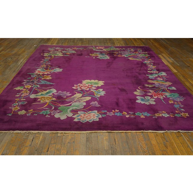 "Textile 1920s Chinese Art Deco Rug - 8'6""x11'4"" For Sale - Image 7 of 8"