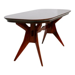 Italian Geometric Dining Table in Wood School of Turin, 1950s For Sale
