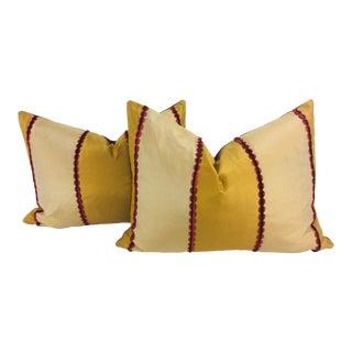 Modern Taffeta Striped Copper and Red Lumbar Pillows- a Pair
