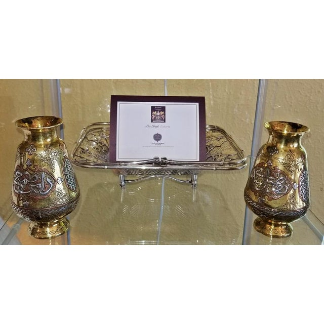 Pair of 18c Middle Eastern Damascene Vases For Sale - Image 4 of 7