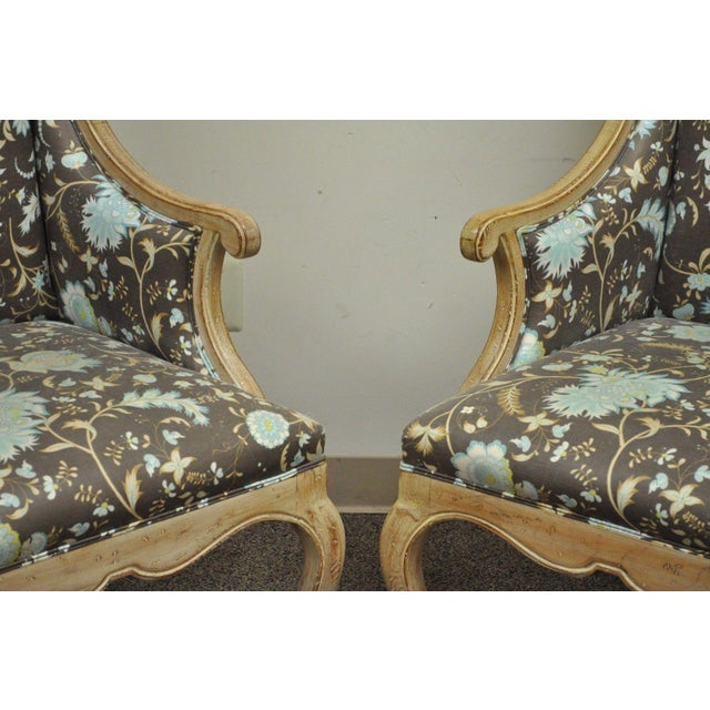 Pair of Hollywood Regency French Country Carved Wing Back Fireside Lounge Chairs - Image 7 of 11