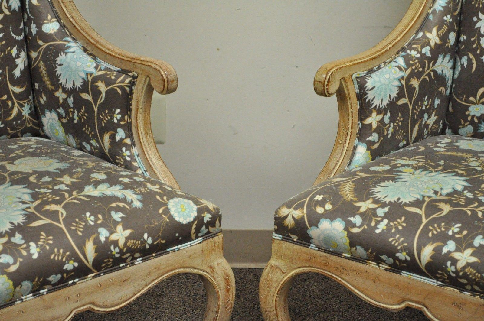 Pair Of Hollywood Regency French Country Carved Wing Back Fireside Lounge  Chairs   Image 7 Of