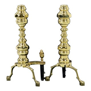 Williamsburg Virginia Metalcrafters Brass Ball & Claw Foot Andirons - A Pair For Sale