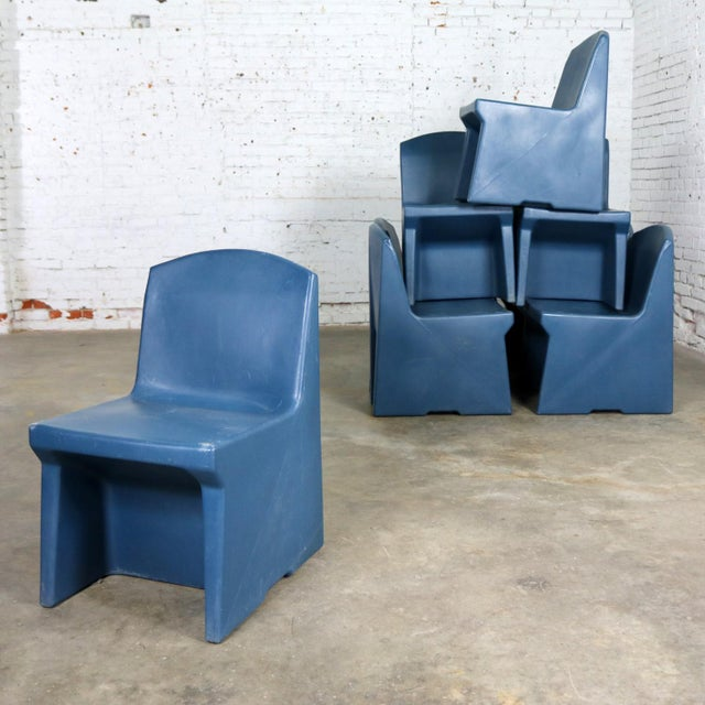 Blue Molded Plastic Side or Slipper Chairs by Norix Set of Eight For Sale - Image 13 of 13
