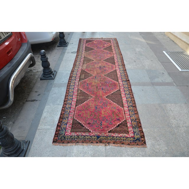 "Persian Antique Handmade Runner Rug -- 3'3"" x 10'5"" - Image 2 of 6"