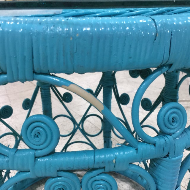 Blue Wicker Drum Table - Image 9 of 9