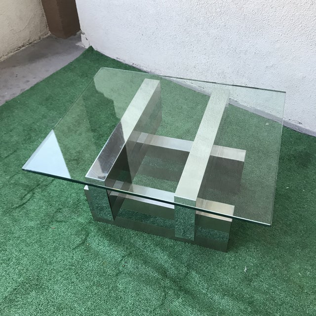 Mid-Century Modern 1970s Minimalist Paul Evans Cityscape Chrome Clad Cocktail Table For Sale - Image 3 of 7