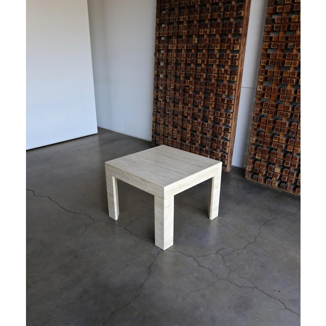 Vintage Travertine Side Table Circa 1980 For Sale In Los Angeles - Image 6 of 13