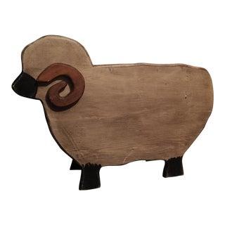 Country Farmhouse Wooden Sheep Storage Box, Folk Art, Americana For Sale