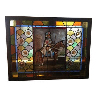 1940s Vintage Leaded Stained Glass Window For Sale