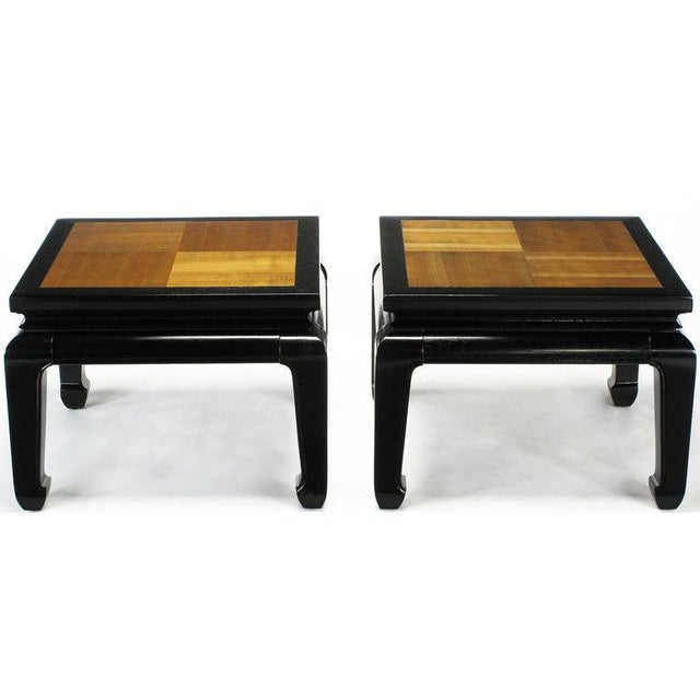 Asian Pair Ming Low Tables With Parquetry Tops For Sale - Image 3 of 8