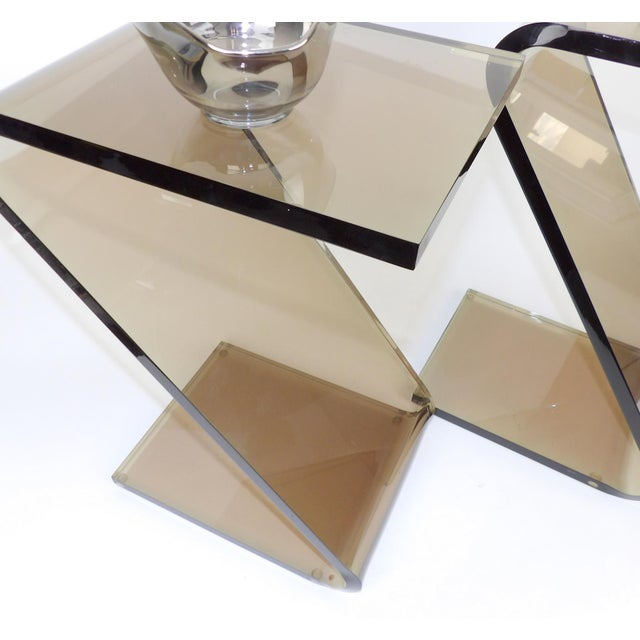 """Shlomi Haziza Shlomi Haziza Acrylic Bent Lexan Lucite """"Z"""" End Tables / Nightstands - a Pair For Sale - Image 4 of 12"""