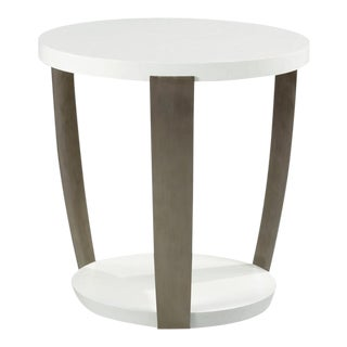 Woodbridge Alabaster Textured Deco Lamp Table For Sale