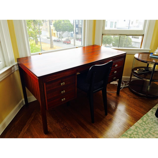 Mid-Century Modern Refinished Mid-Century Rosewood Desk For Sale - Image 3 of 4