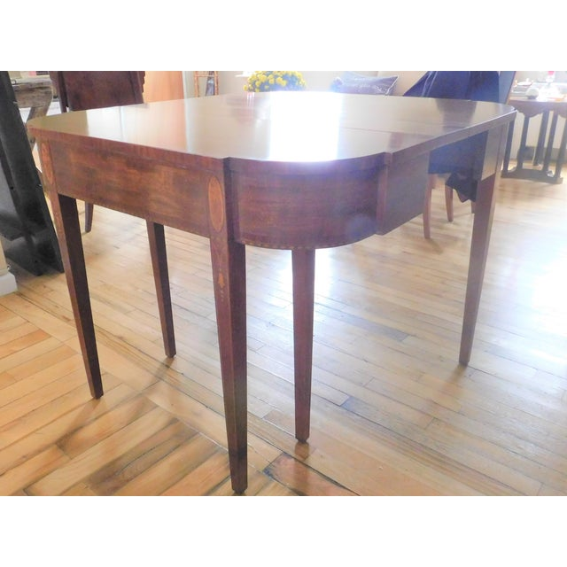 Antique Demi-Lune Mahogany Marquetry Extension Dining Table For Sale - Image 9 of 11