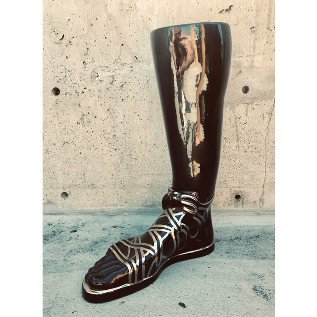 1970s Mid-Century Modern Iconic Fornasetti Glazed Ceramic Umbrella Stand in the Form of a Roman Foot For Sale - Image 10 of 10