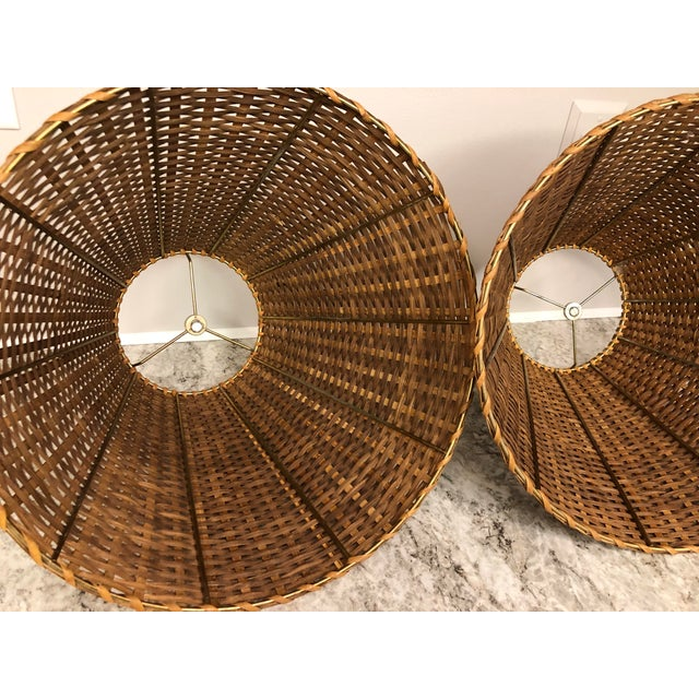 Brown Vintage Rattan Lamp Shades - a Pair For Sale - Image 8 of 12
