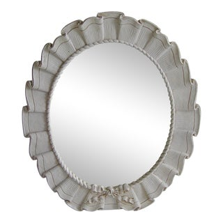 Vintage Antique White Resin Ruffled Bow Mirror For Sale