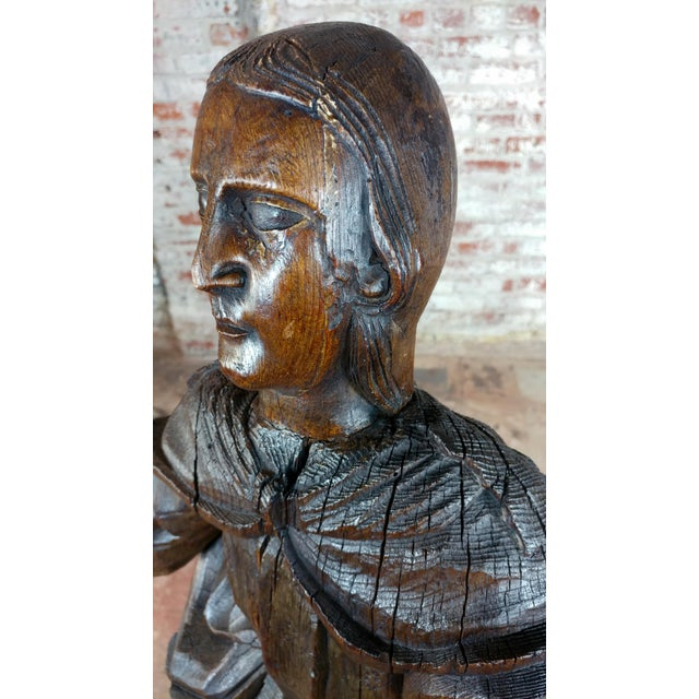 17th Century Antique French Carved Oak Santo Figure For Sale - Image 4 of 12