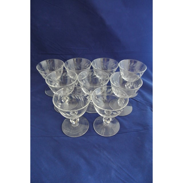 Transparent Antique Etched Crystal Champagne Coupes - Set of 9 For Sale - Image 8 of 11