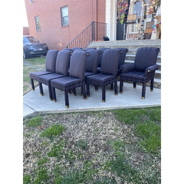 Great set of 12! Mastercraft parsons style roll back dining chairs with the signature brass accents at the top sides and...