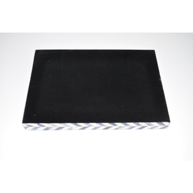 2010s Susanna Chevron Bone Tray in Blue and Ivory For Sale - Image 5 of 6