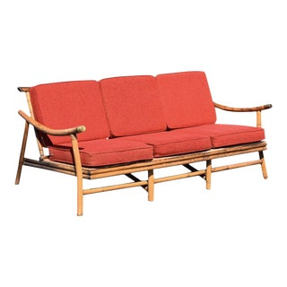 Bamboo and Brass Red Sofa