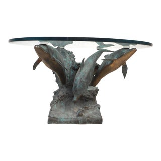 Bronze Dolphins on a Wave Sculptural Coffee Table by Wyman For Sale