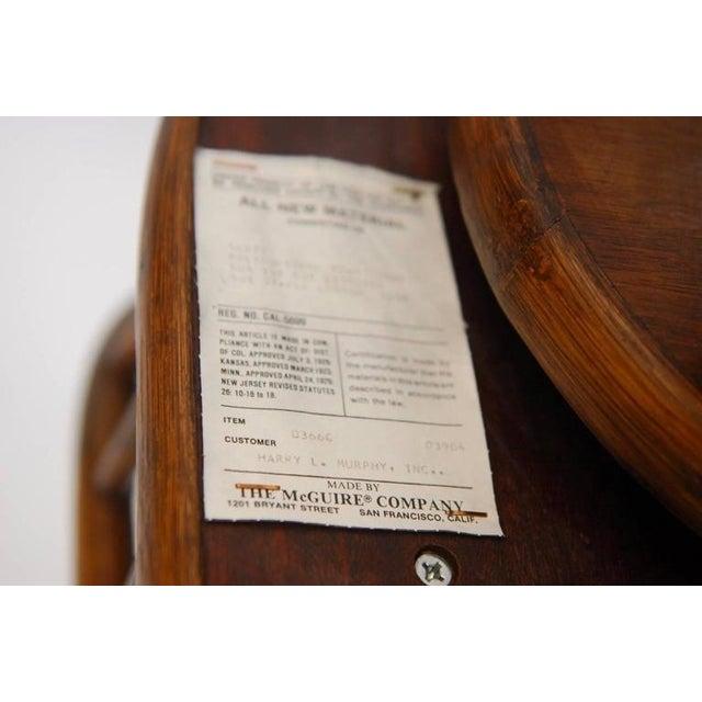 McGuire Bamboo & Cane Swivel Barstools - Set of 4 - Image 8 of 10