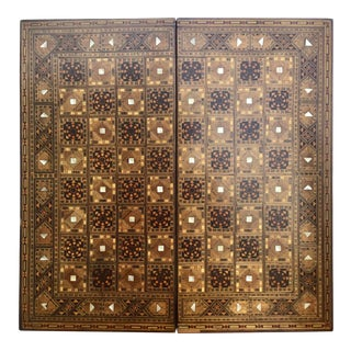 Vintage Syrian Inlaid Mosaic Game Board For Sale