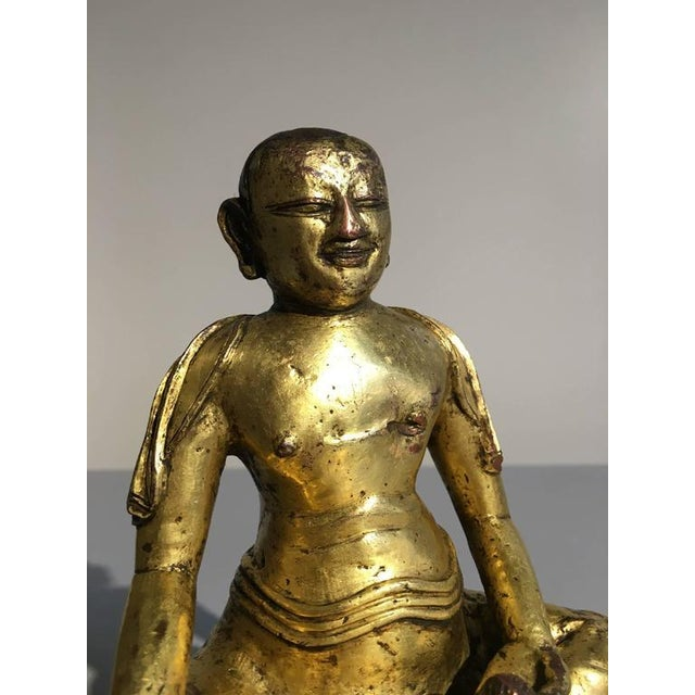 Tibetan Gilt Bronze Figure of an Arhat For Sale In Austin - Image 6 of 10