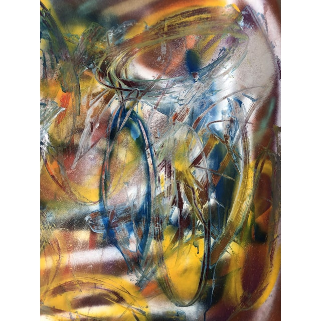 Original abstract oil painting on paper by Erik Sulander 36x50 unframed. Signed.