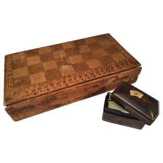 Leather Game Board and Card Box For Sale