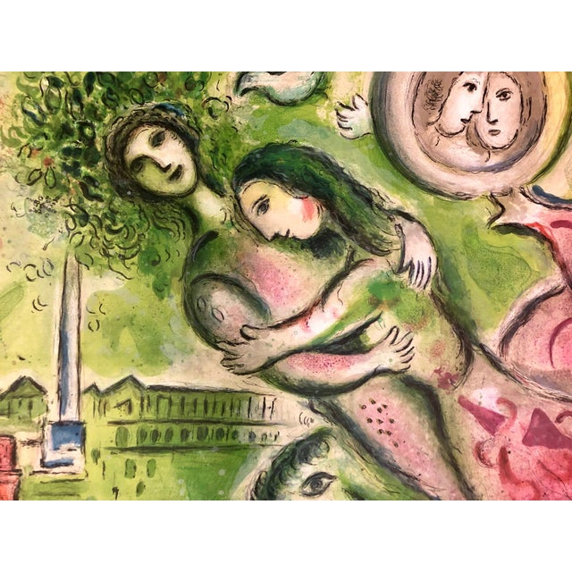 Marc Chagall 1964 Vintage Marc Chagall Romeo & Juliet Paris Opera Lithograph Poster For Sale - Image 4 of 5