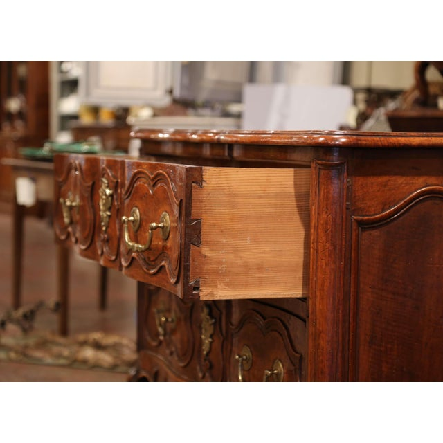 Metal 18th Century Louis XV Period Carved Walnut Two-Drawer Commode From Fourques For Sale - Image 7 of 11