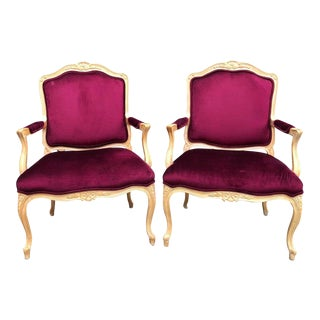 Modern Henredon French Raspberry Velvet Arm Chairs- A Pair For Sale
