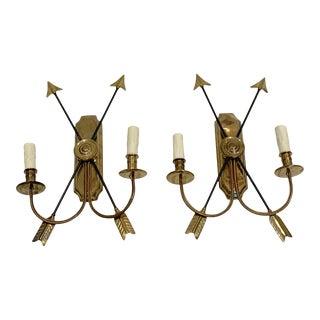 Maison Jansen Bronze Arrow Sconces, France - a Pair For Sale