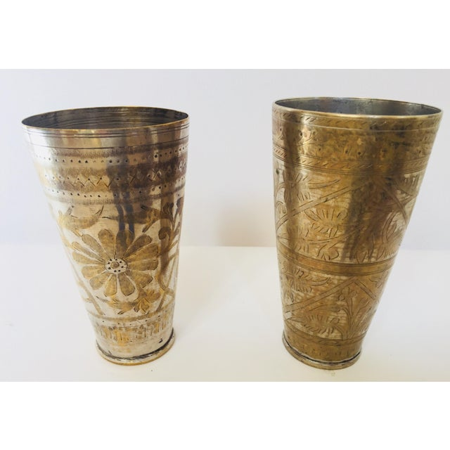 Anglo Raj Mughal Brass Engraved Beakers - Set of 2 For Sale - Image 12 of 12