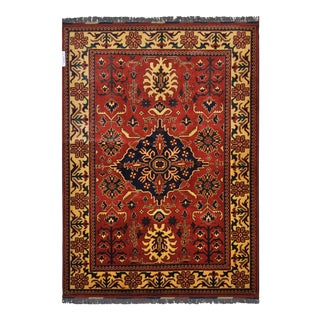"""Traditional Bokhara Floral Design Hand Knotted Wool Area Rug - 5'3"""" X 7'3"""" For Sale"""