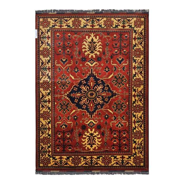 "Traditional Bokhara Floral Design Hand Knotted Wool Area Rug - 5'3"" X 7'3"" For Sale"