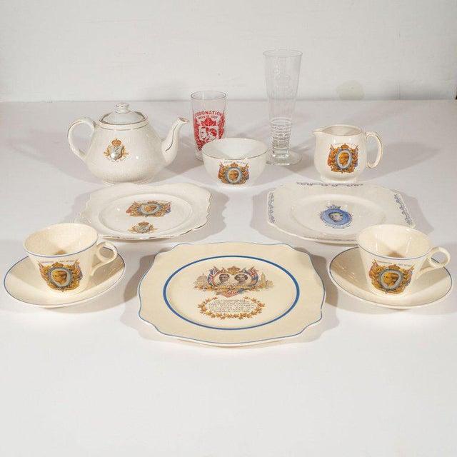 1930s English Art Deco Royal Commemorative Porcelain Coronation Set For Sale - Image 5 of 13
